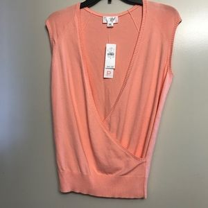 NWT Loft | Peach Faux Wrap Sleeveless Top, SP